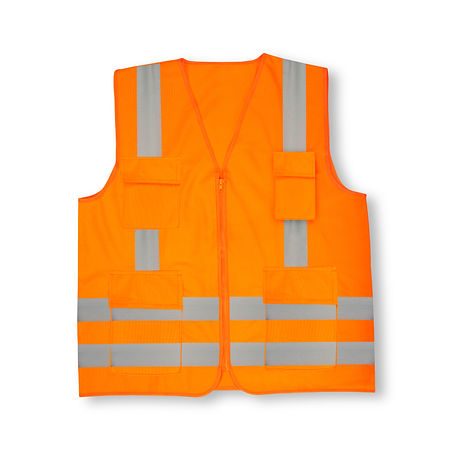 Safety orange vest. Front view. Isolated