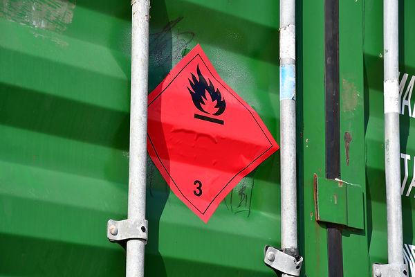 dangerous goods symbol on metal containe