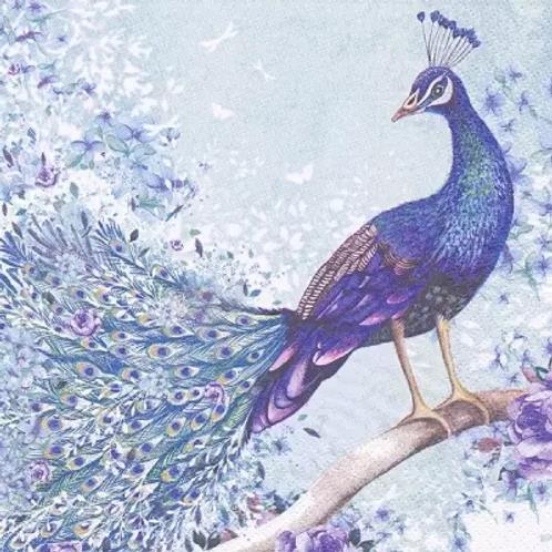 Peacock On Branch - Decoupage Napkin
