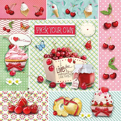 Red Cherries - Decoupage Napkin