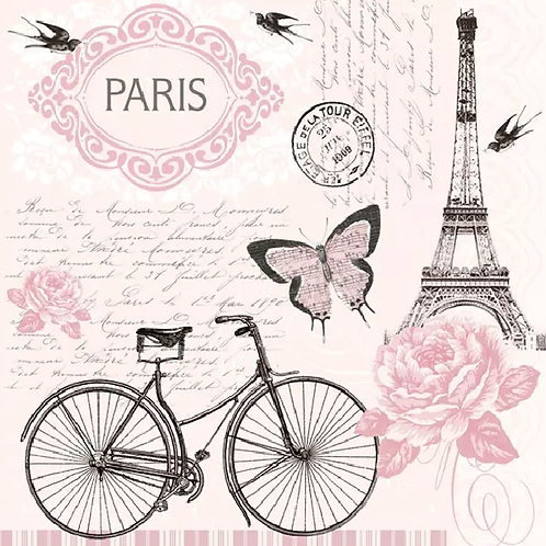 Parisian Bicycle - Decoupage Napkin
