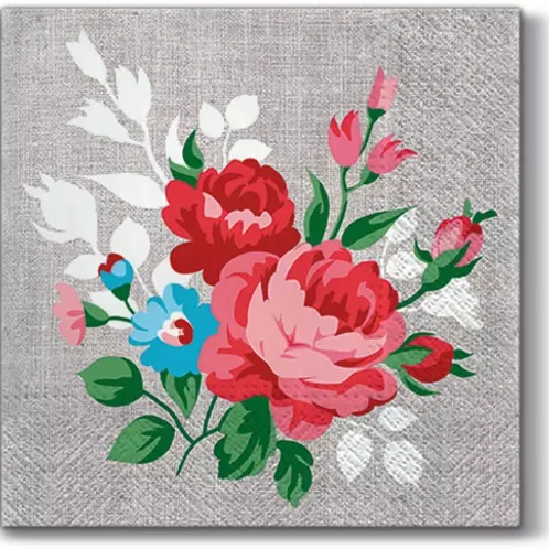 Flowers On Linen - Decoupage Napkin