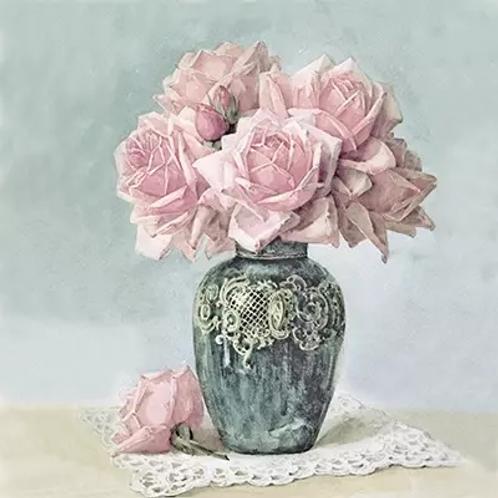 Vintage Pink Vase - Decoupage Napkin