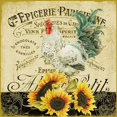 Roosters and Sunflowers - Decoupage Napkin