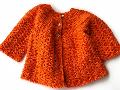 Orange Baby Collection Set Of Sweater, Headcap & Socks - Hand Knitted