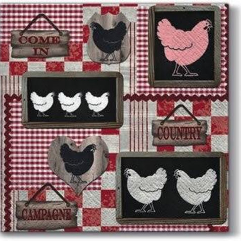 Roosters In The Kitchen - Decoupage Napkin