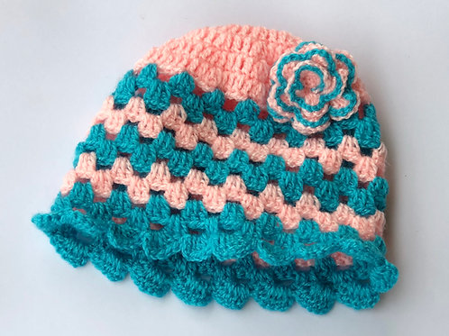 Pink And Blue, Set Of Poncho & Head cap - Hand Knitted