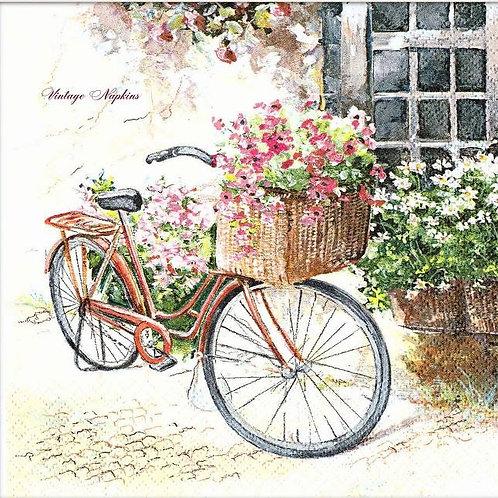 Flowers In A Basket Bike - Decoupage Napkin
