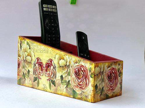 Vintage Rose Theme - Decoupaged, Remote Control Holder