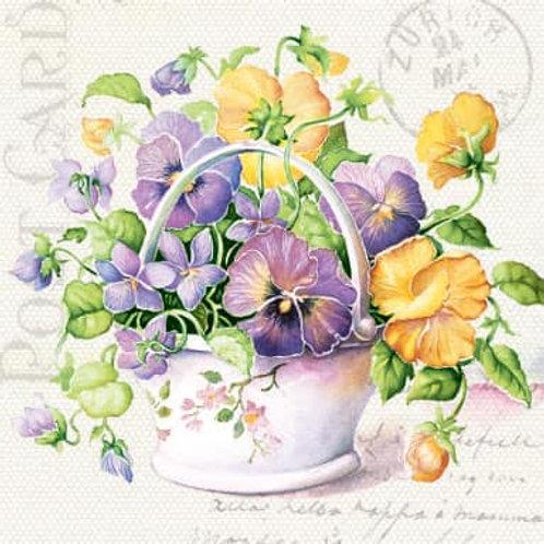 Flower Pastel Basket - Decoupage Napkin