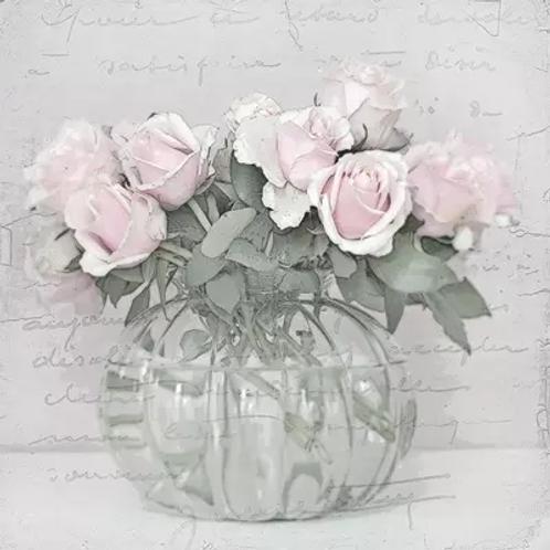 Rose Glass Vase Vintage - Decoupage Napkin
