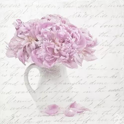 Pink Rose Bouquet Vase  - Decoupage Napkin