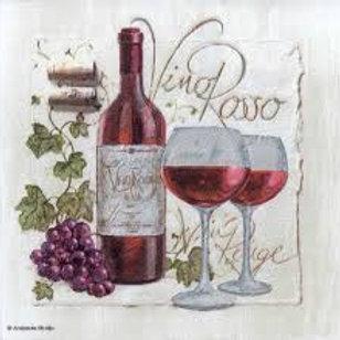 Red Wine - Decoupage Napkin
