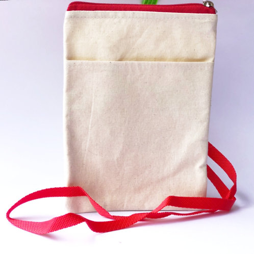 Canvas Sling Bag with Red Strap - Canvas product