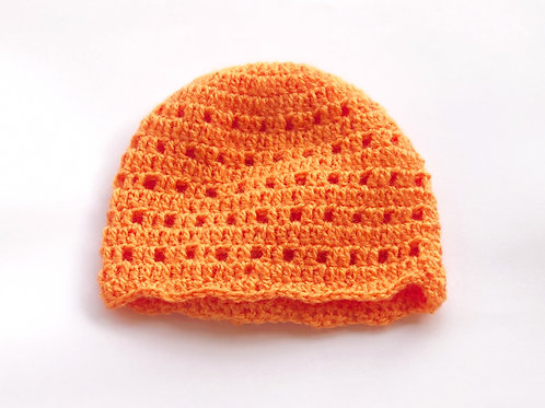 Orange Baby Collection Set Of Sweater And HeadCap - Hand Knitted