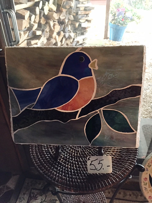 Blue Bird on Rectangle Stepping Stone