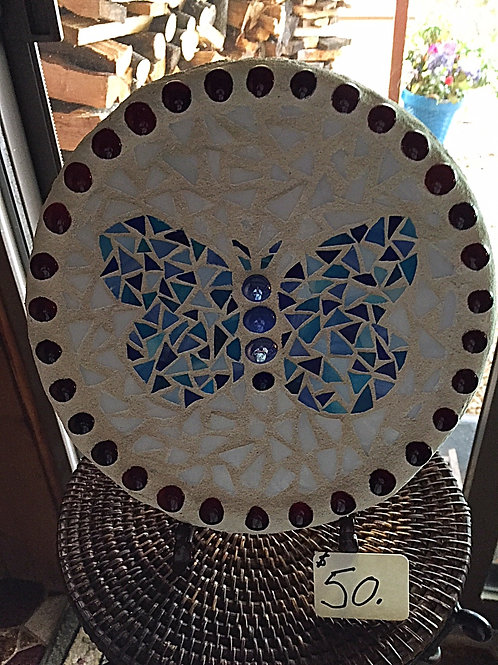Mosaic Blue Butterfly Circle Stepping Stone