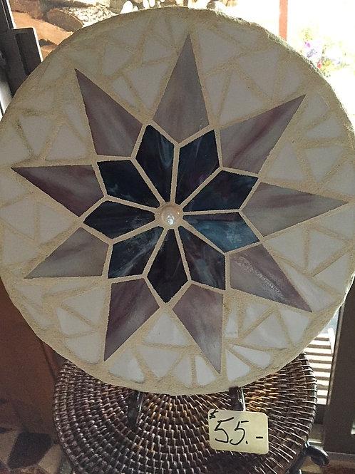 Mosaic Purple Star Circle Stepping Stone