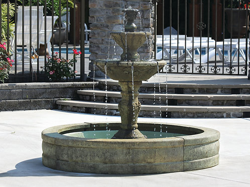 "63"" Three Tier Harvest Fountain On 5' Fiberglass Pool"