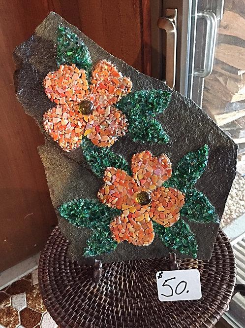 "Mosaic Orange Double Flower ""On the Rocks"""