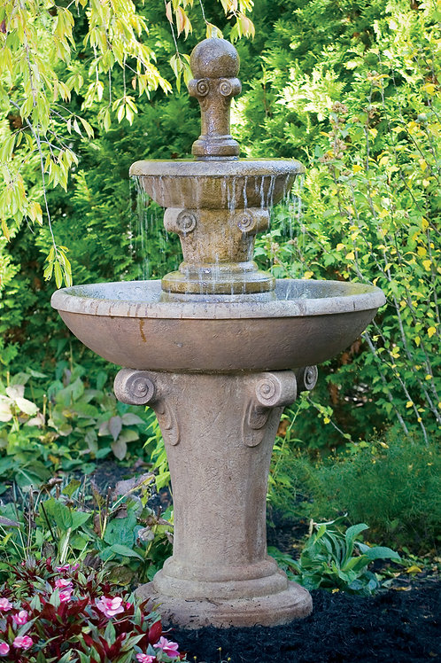 "63"" Two Tier Distressed Scroll Fountain"