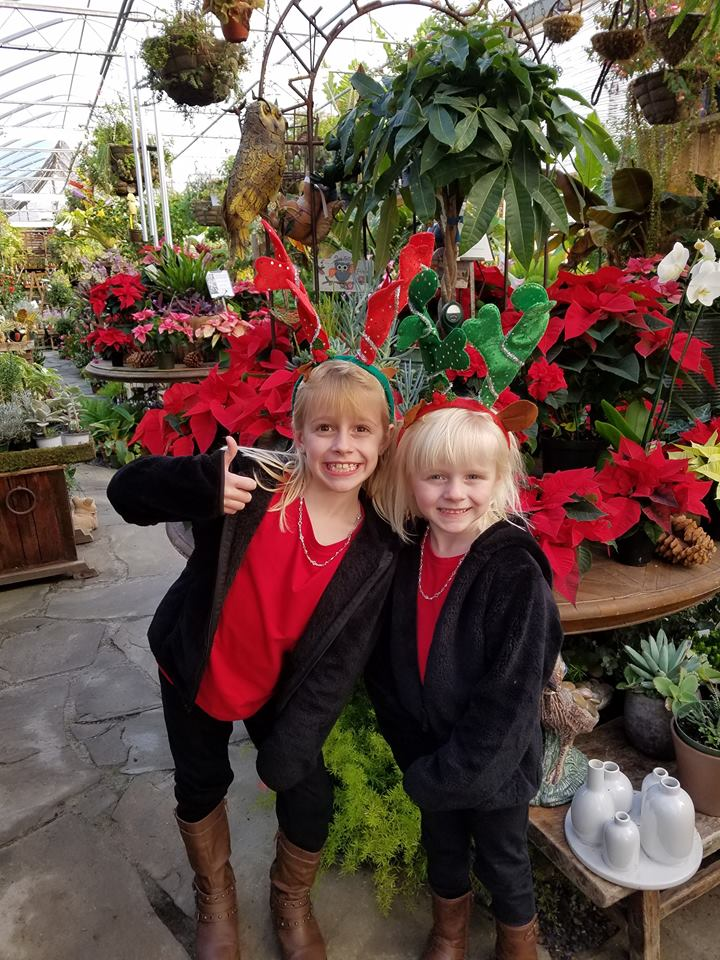 Christmas Greenhouse with girls