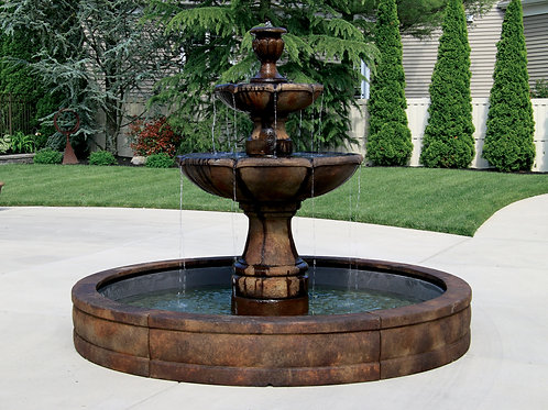 Two Tier Charlotte Fountain with Surround and 8' Fiberglass Pool
