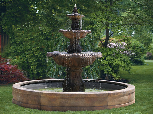 """80"""" Calabria Fountain with Surround and 8' Fiberglass Pool"""
