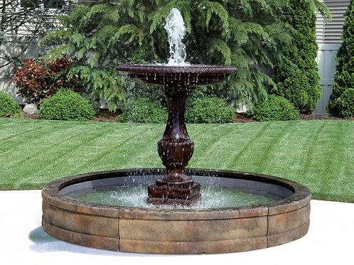 One Tier Savona Fountain with Surround and 8' Fiberglass Pool
