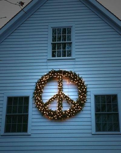 Peace Wreath on house