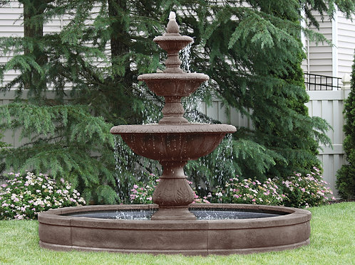 "88"" Windley Key Fountain with Surround and 8' Fiberglass Pool"