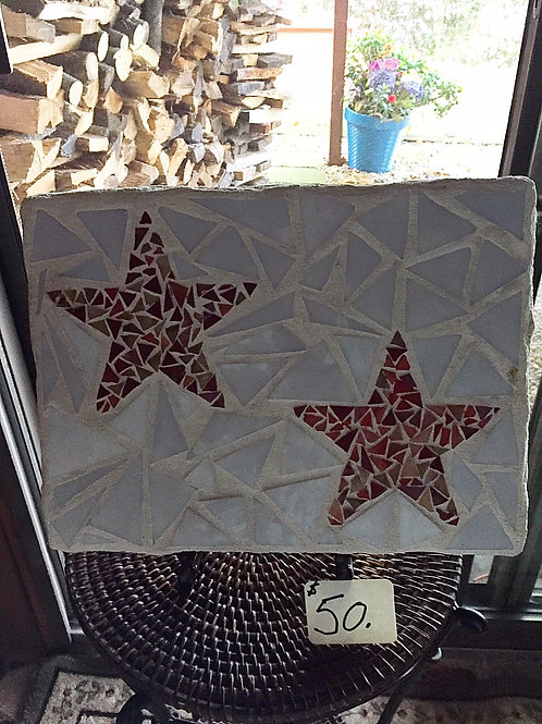 Mosaic Red Star Glass Stepping Stone