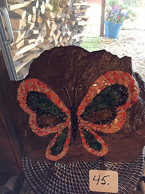 "Mosaic Multi-Colored Butterfly ""On the Rocks"""