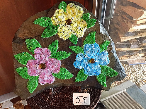 """Mosaic Multi-Colored Flowers """"On the Rocks"""""""