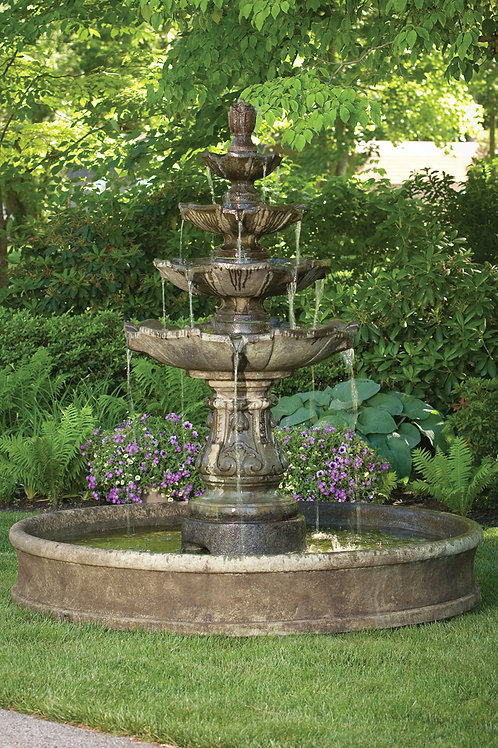 """79"""" Classic Four Tier Fountain On 6' Pool"""