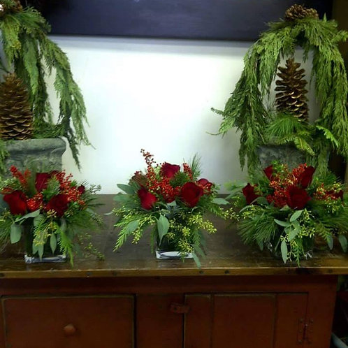 Cube Floral Arrangements with Roses & Winter Greens