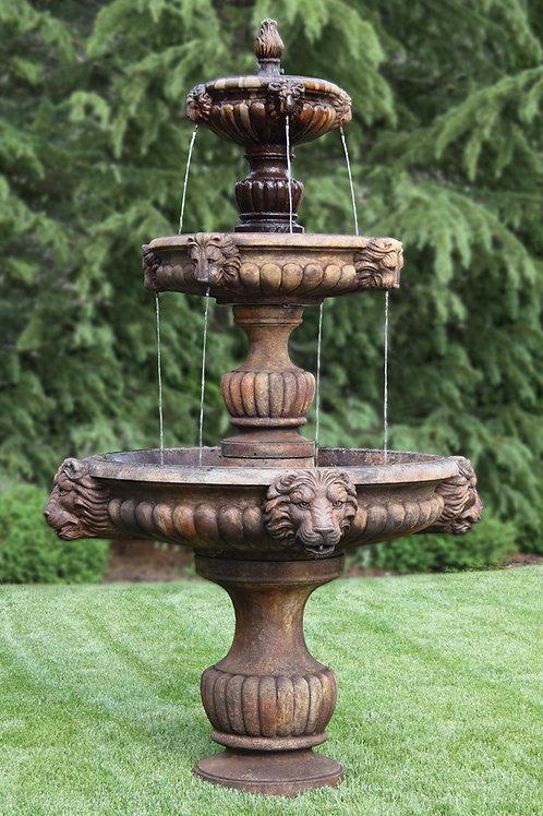 Three Tier Grandessa Fountain with Surround and 8' Fiberglass Pool
