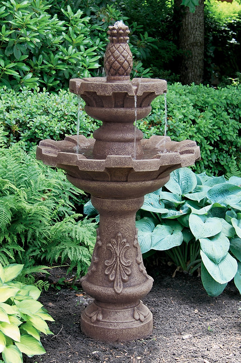 "57"" Two Tier Fluted Fountain With Pineapple Finial"