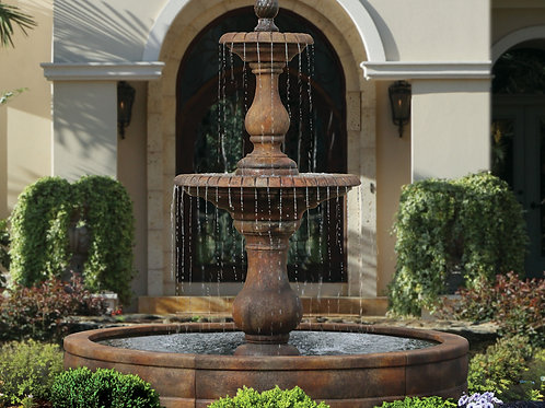 Two Tier Hampton Fountain with Surround and 8' Fiberglass Pool