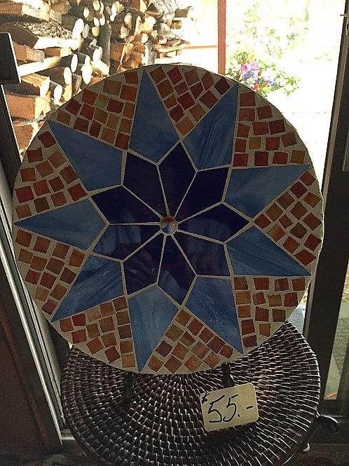 Mosaic Multi-Colored Star Circle Stepping Stone
