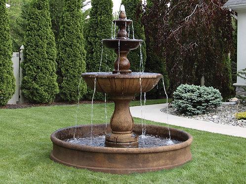 "78"" Three Tier Boca Round Fountain on 6' Pool"