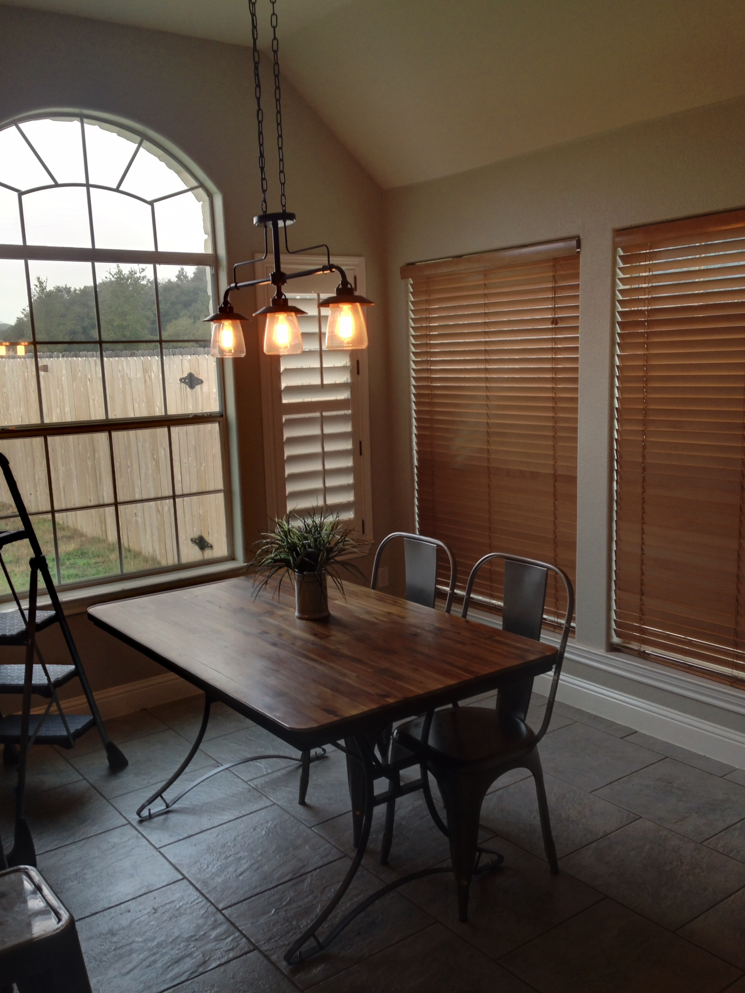 Before - old wood blinds