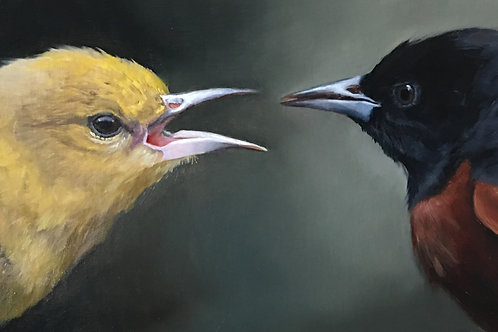 """""""The Bickersons"""" Oil on Linen 10""""x20"""""""