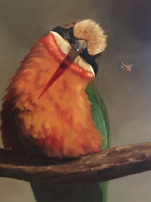 """Bee Curious"" Oil on Linen 24"" x 30"""