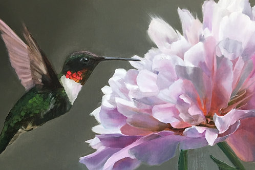 """Peony Attraction"" Oil on Linen 24"" x 12"""