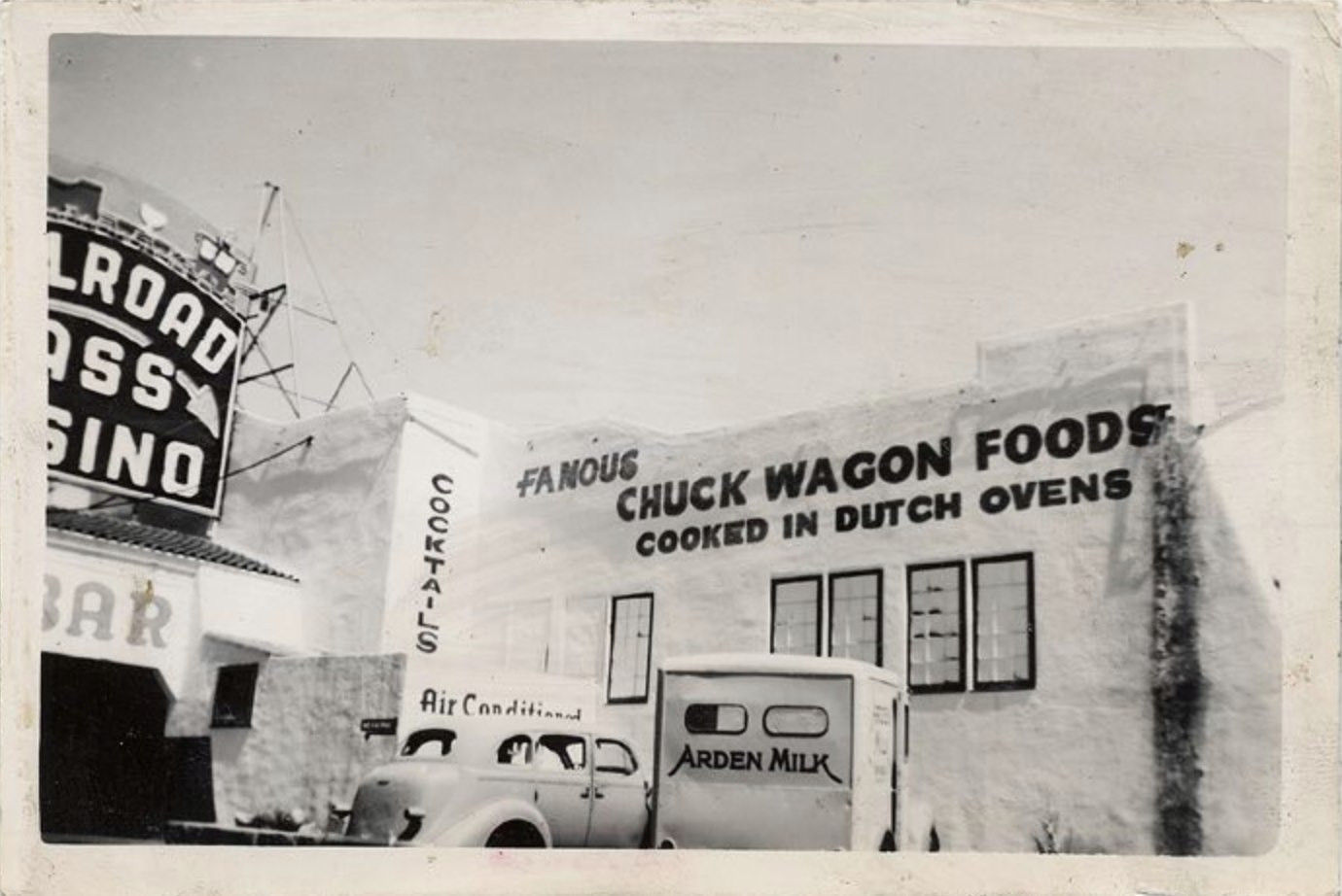 An early photograph of Railroad Pass Casino with the famous Chuck Wagon Foods sign.  ca. 1930's Donor - Greeno family