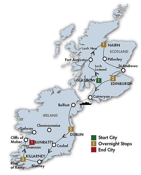 CIE Taste of Ireland Scotland Itinerary.