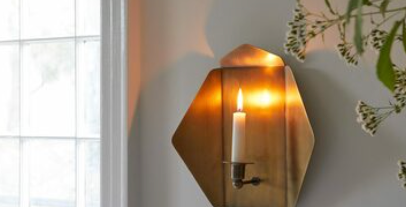 Quarterfold Brass Candle Sconce