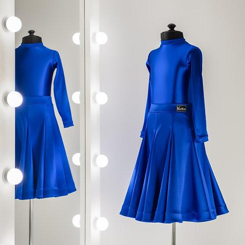 Ярко синее рейтинговое платье для турнира из сатин-вельвета годе 8 клиньев, Рейтинговые платья, Рейтинг на заказ, регилин