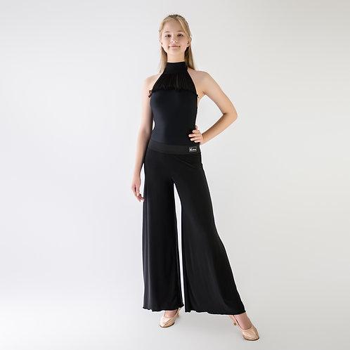 Черные тренировочные брюки для танцев. Брюки для стандарта. Спортивно-бальные, одежда для тренировок, танцевальный магазин